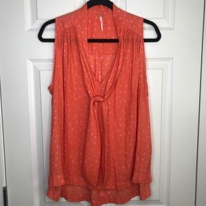 Free People coral sleeveless blouse